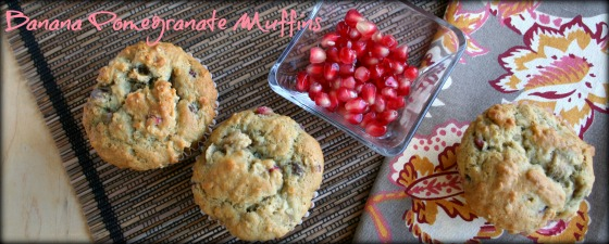 banana pomegranate muffins featured
