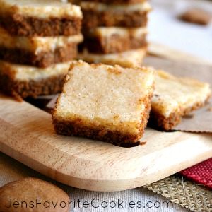 Eggnog Bars with Gingerbread Crust