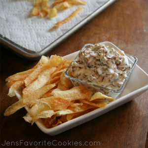 caramelized onion dip and potato chips