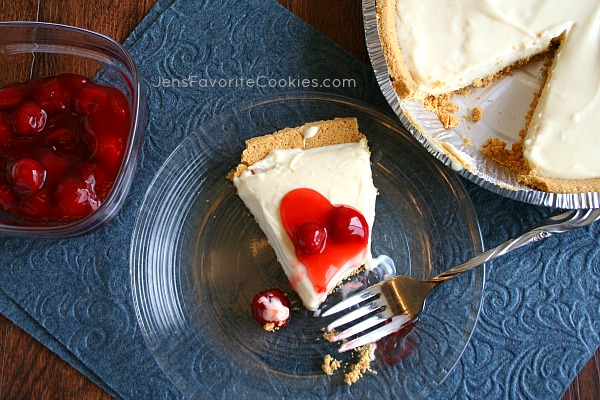 Easy No-Bake Cheesecake from JensFavoriteCookies.com - All you need is 10 minutes, 3 ingredients, and a graham cracker crust!