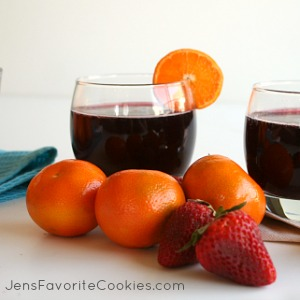Non-Alcoholic Sangria Mocktail from JensFavoriteCookies.com - a great fruity drink to share with kids!