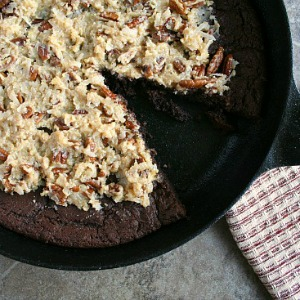 German Chocolate Skillet Cake