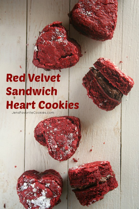 Red Velvet Heart Sandwich Cookies from Jen's Favorite Cookies
