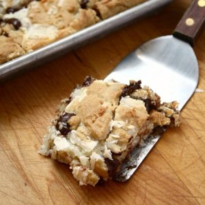 Coconut Fudge Chocolate Chip Cookie Bars from JensFavoriteCookies.com