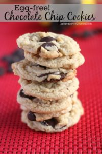 Egg-Free Chocolate Chip Cookies from JensFavoriteCookies.com, You won't even miss the eggs when you use this secret ingredient!