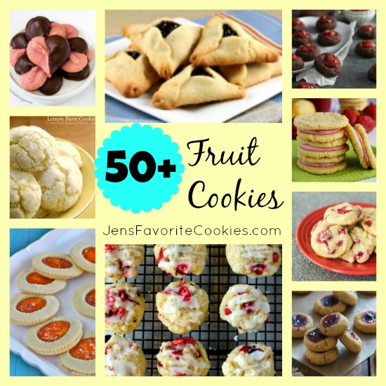 50 Fruit Cookie recipes on JensFavoriteCookies  -  Every cookie in this collection contains real fruit in some form!  A great collection to get you ready for summer.