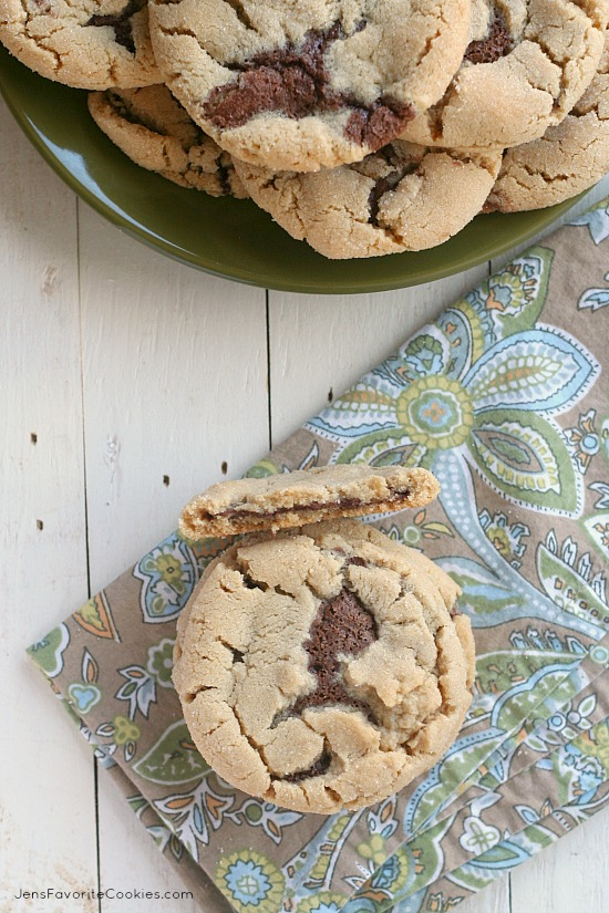 Chocolate Stuffed Peanut Butter Cookies from JensFavoriteCookies.com - for #chocPBday !  Come check out all 31 amazing chocolate and peanut butter recipes!