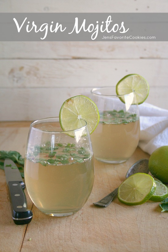 How to make Virgin Mojitos from JensFavoriteCookies.com  -  this mint and lime drink is non-alcoholic and so refreshing!