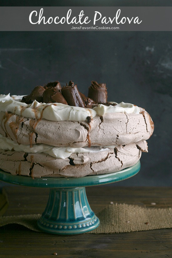 Chocolate Pavlova from JensFavoriteCookies.com  -  This chocolate meringue dessert is so impressive topped with chocolate curls!