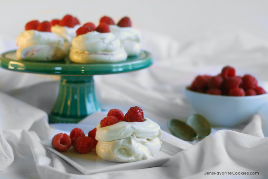 Lemon Raspberry Meringues from JensFavoriteCookies.com  #RaspberryDesserts  - Fresh fruit makes the best dessert!
