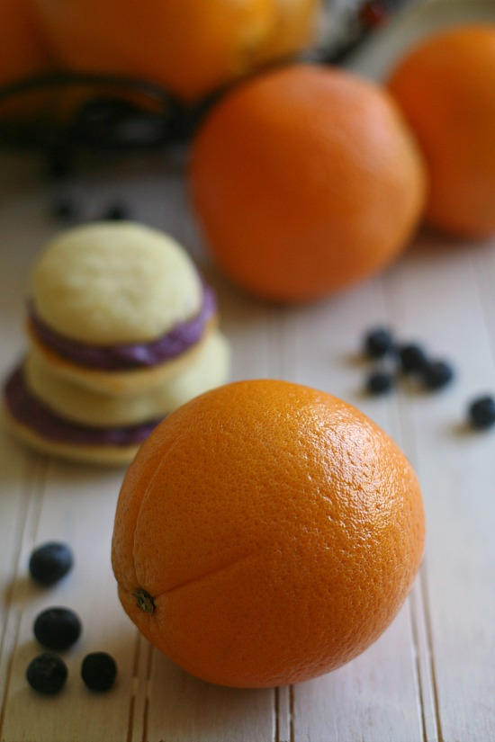 Orange Blueberry Whoopie Pies from JensFavoriteCookies.com - Use fresh oranges and blueberries in this fun cookie!