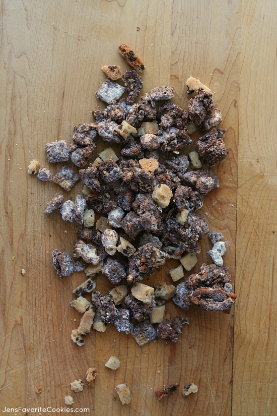 Chocolate Chip Cookie Muddy Buddies from JensFavoriteCookies.com - popcorn, pretzels, and cookie bark make this fun version of the classic snack!