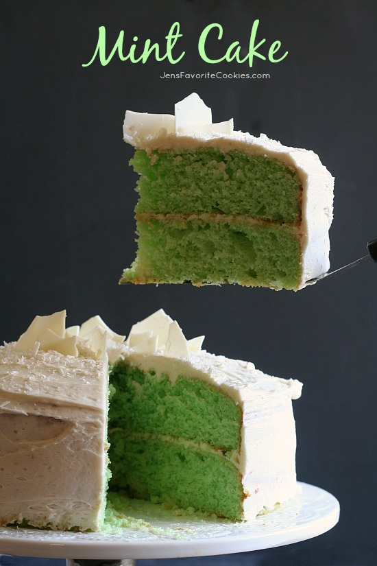 Mint Cake with Vanilla Buttercream from JensFavoriteCookies.com - This green mint cake is dense and flavorful!