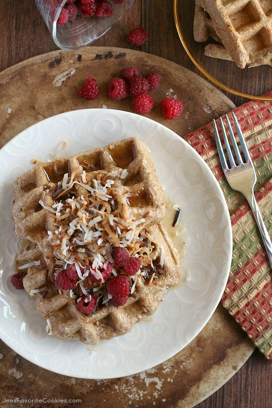 Whole Wheat Coconut Waffles from JensFavoriteCookies.com - use almond milk to make these waffles healthy and delicious!