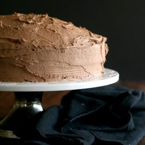 Grandma's Chocolate Cake from JensFavoriteCookies.com - not too rich!  This cake and frosting both have a mild chocolate flavor.