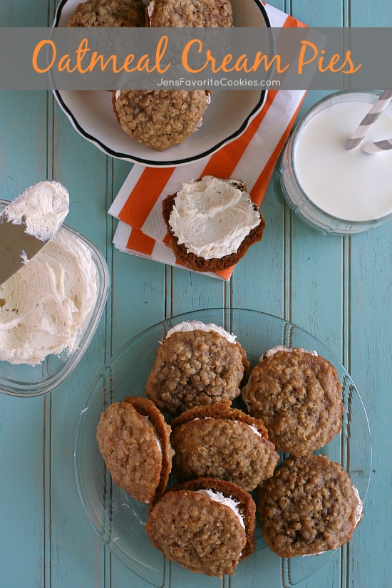 Oatmeal Cream Pies from JensFavoriteCookies - you'll love this Little Debbie copycat recipe with marshmallow filling!