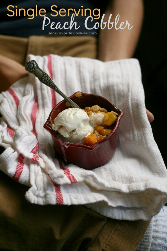 Single Serving Peach Cobbler from JensFavoriteCookies.com - This easy peach crisp for one is a perfect recipe for college students or other singles!