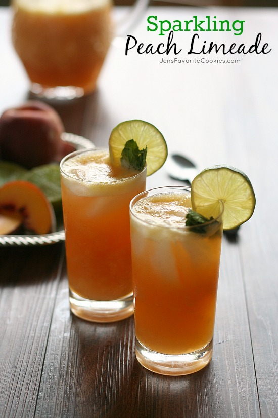 Sparkling Peach Limeade from JensFavoriteCookies.com - non-alcoholic summer drink made with fresh fruit.