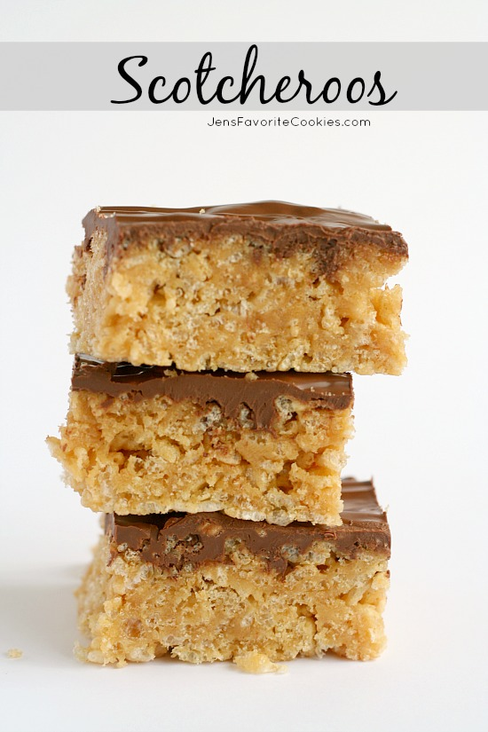 Scotcheroos from JensFavoriteCookies.com - Peanut butter krispie treats with chocolate butterscotch frosting.