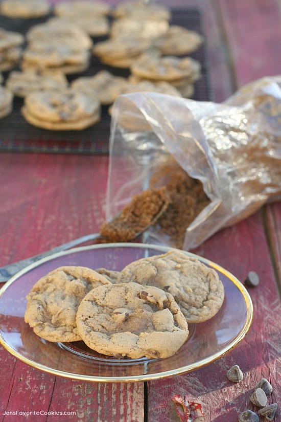 Brown Sugar Chocolate Chip Cookies from JensFavoriteCookies.com -  dark brown sugar makes these cookies soft, chewy and flavorful!