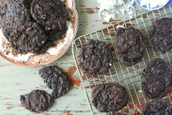 Dark Chocolate Coconut Cookies from JensFavoriteCookies.com - These rich, black, dark chocolate cookies are chock full of coconut!