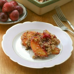 Peach & Plum Crisp from JensFavoriteCookies.com - This fruit crisp recipe is a great way to enjoy the later summer harvest!