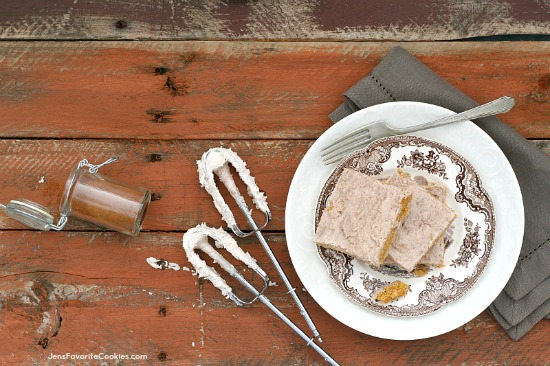 Egg-free Pumpkin Bars with Cinnamon Frosting from JensFavoriteCookies.com - These will put you in the mood for fall!