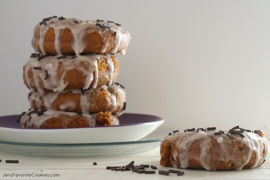 Pumpkin Buttermilk Donuts with Chocolate Milk Glaze from JensFavoriteCookies.com