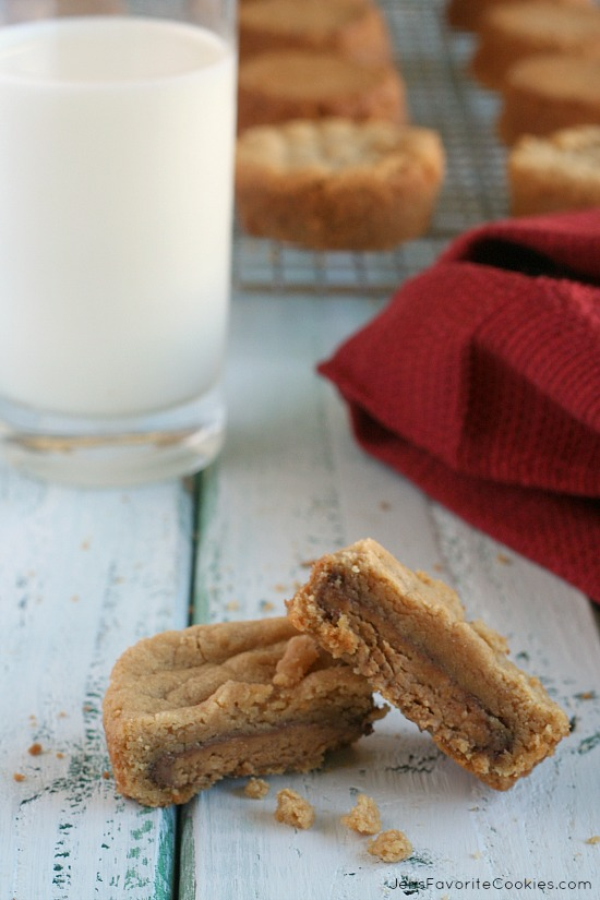 Peanut Butter Cup Cookies from JensFavoriteCookies.com - they're stuffed with peanut butter cups!