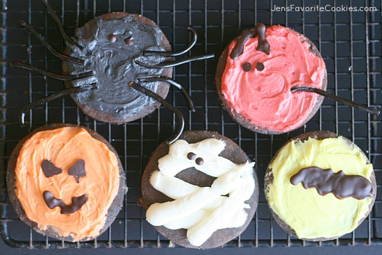 Chocolate Sugar Cookies from JensFavoriteCookies.com - These cut out cookies are decorated for Halloween!