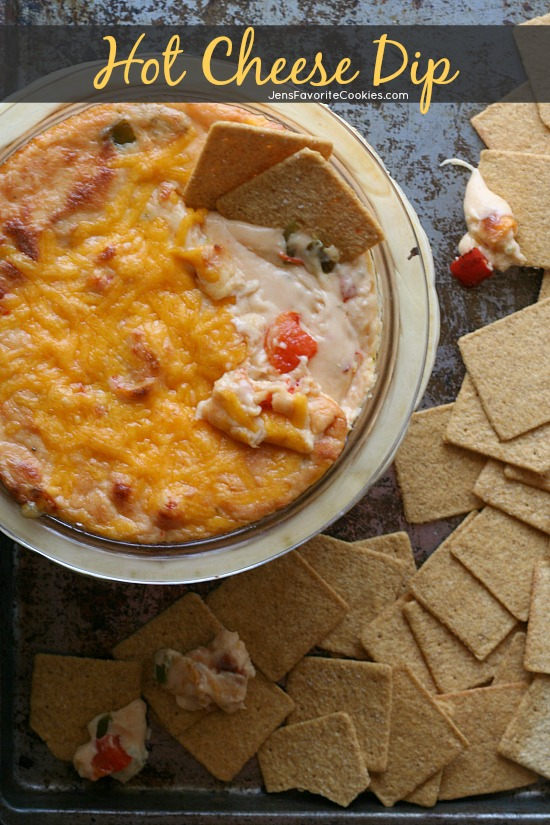 Roasted Red Pepper Hot Cheese Dip from JensFavoriteCookies.com - A warm and spicy crowd pleaser!