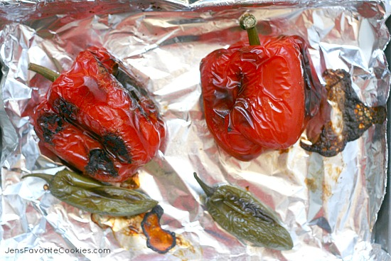 Roasting Peppers for Hot Cheese Dip from JensFavoriteCookies.com