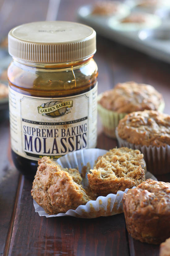 Roasted Banana Molasses Muffins from JensFavoriteCookies.com - Molasses makes these muffins extra healthy, comforting and delicious! #ad