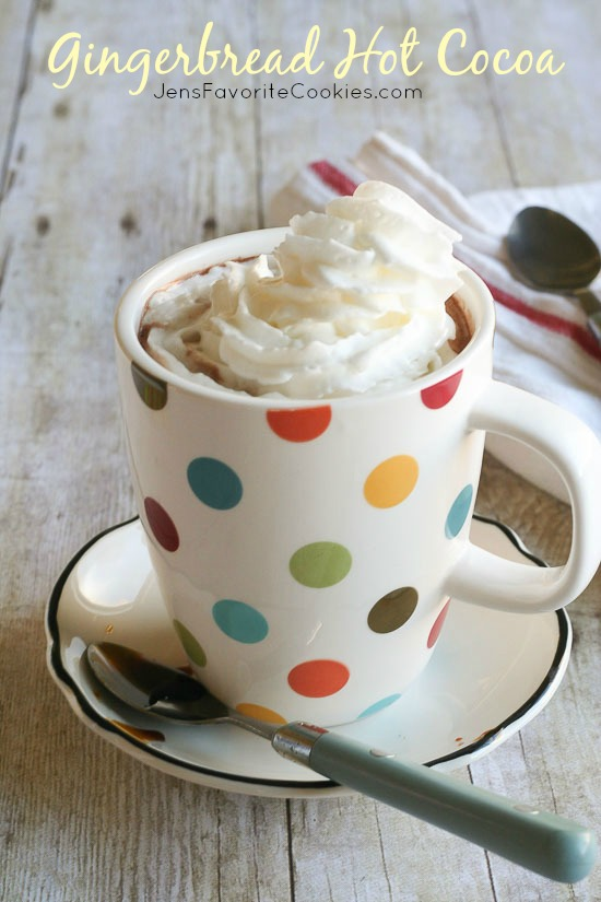 Gingerbread Hot Cocoa from JensFavoriteCookies.com - a delicious twist on hot chocolate!