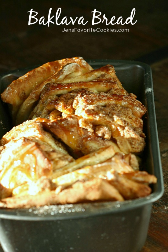 Baklava Bread from JensFavoriteCookies.com - pull apart bread with a sweet nutty filling and honey syrup drizzle.
