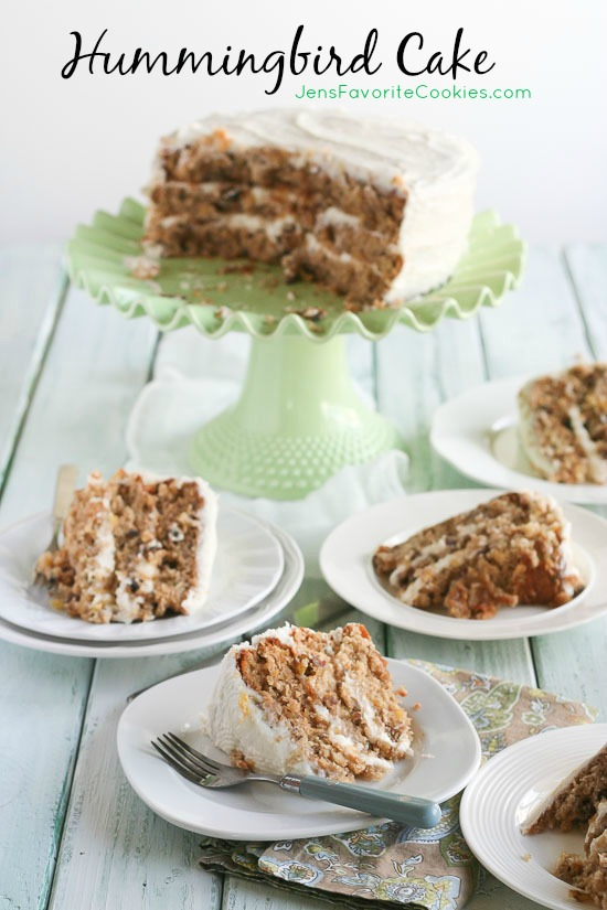 Hummingbird Cake from JensFavoriteCookies.com - a delicious layer cake with cream cheese frosting perfect for Easter or anytime!