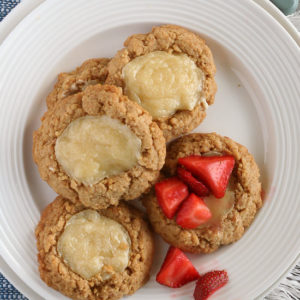 Cheesecake Cookies from JensFavoriteCookies.com - these are just like miniature cheesecakes, and taste great topped with fresh berries!