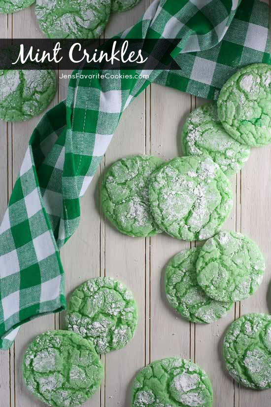 Mint Crinkles from JensFavoriteCookies - a fun and easy way to customize your cake mix cookies!