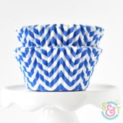 Blue Chevron Cupcake Liners