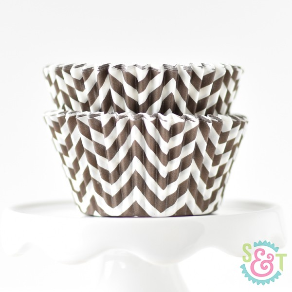 Brown Chevron Cupcake Liners