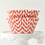 Coral Chevron Cupcake Liners