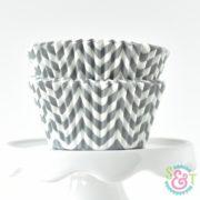 Gray Chevron Cupcake Liners