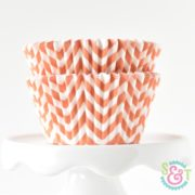 Orange Chevron Cupcake Liners