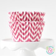 Pink Chevron cupcake liners