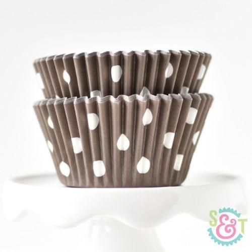 Brown Dots Cupcake Liners