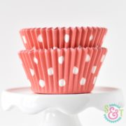 Coral Dots Cupcake Liners