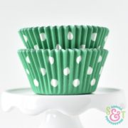 Green Dots Cupcake Liners