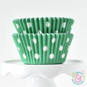Green Dots Cupcake Liners
