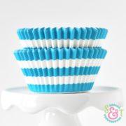 Aqua Stripe Cupcake Liners