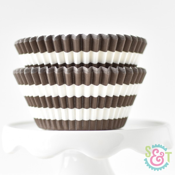 Brown Stripe Cupcake Liners